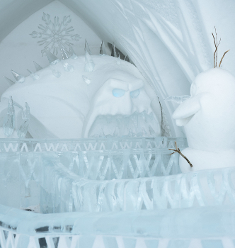 Marshmallow and Olaf at the Hotel de Glace