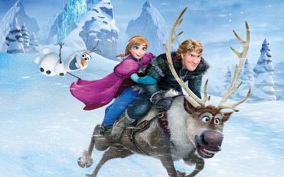 Olaf, Anna, and Kristoff racing on Sven!