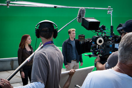 Scarlett and Chris working against green screen