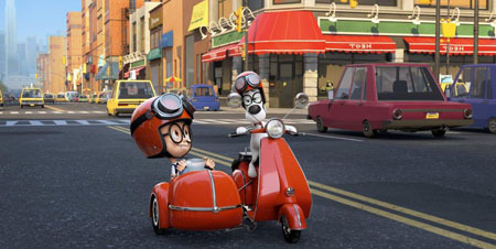 Sherman (Max Charles) shares a ride with Mr. Peabody