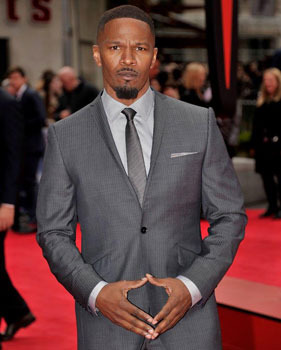 A serious Jamie Foxx at the London Premiere