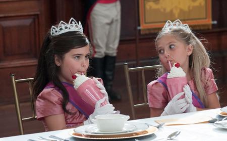 Sophia Grace and Rosie drinking milkshakes