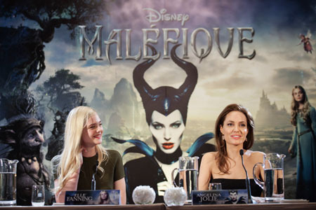 Angelina with Elle Fanning at Maleficent Press Conference