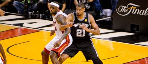 Lebron And Duncan fight for the paint in last year's Finals