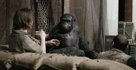 Koba poses as a stupid ape to humans