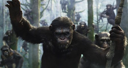 Caesar leads his ape followers