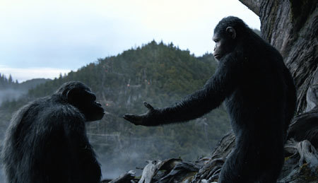 Caesar tries to get Koba to choose peace