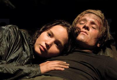 Jennifer Lawrence and Josh Hutcherson as Katniss and Peeta
