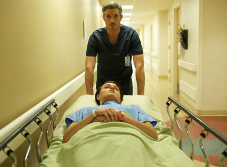 Dave Annable as Dr. McAndrew with Nolan as a sick Jordi