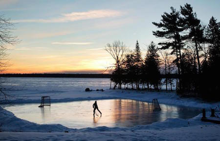 In cold countries, skating outdoors on a frozen pond or lake is very popular.