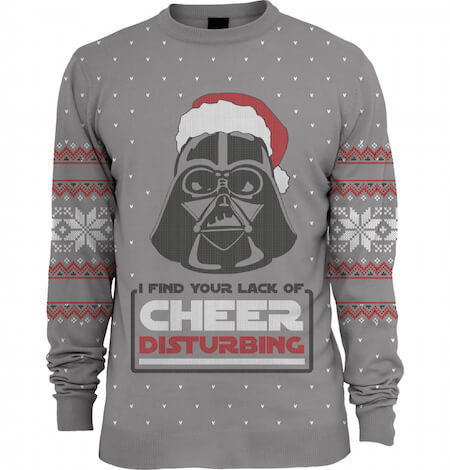 Celebrate the release of the new Star Wars movie with this Darth Vader sweater!
