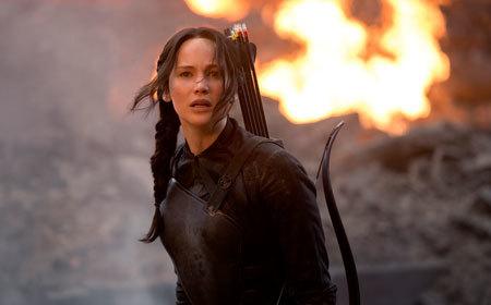 Katniss (Jennifer Lawrence) sees the hospital destroyed