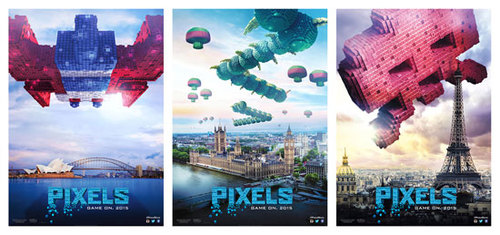 PIXELS posters featuring Galaga, Centipede, and Space Invaders
