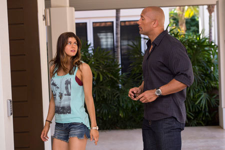 Ray and Blake (Alexandra Daddario) before the quake