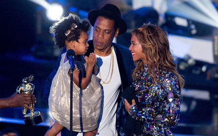 Beyonce with husband Jay-Z and daughter Blue Ive