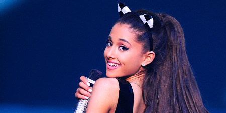 Ariana wears cat ears for all the Cat Valentine fans!