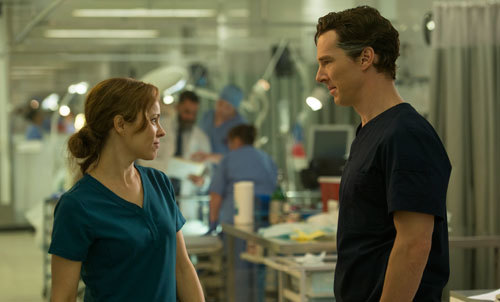 Rachel as doctor Christine Palmer with Benedict as Dr. Stephen Strange