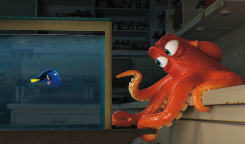 Dory encounters an array of new and old acquaintances, including a cantankerous octopus named Hank
