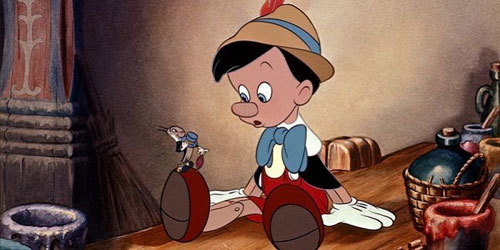 Pinocchio and Jiminy Cricket!
