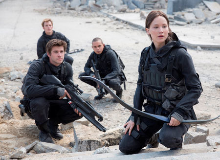 Katniss, Gale, Finnick and Messala scout the area