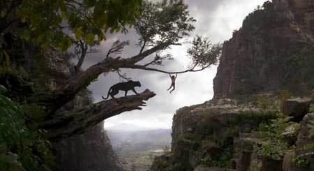 Bagheera teaches Mowgli jungle navigation