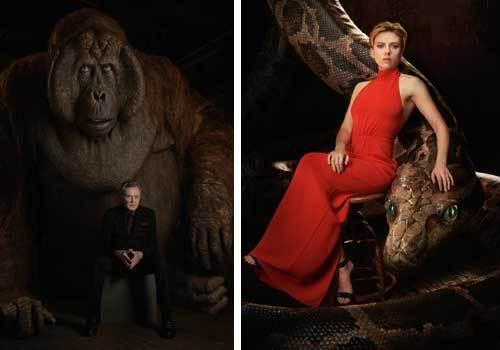 Christopher Walken as King Louie and Scarlett Johansson voices Kaa