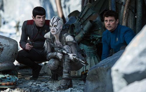 Spock, Jaylah, and Bones