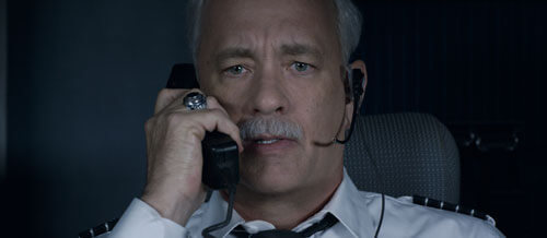 Tom as Sully tells the tower he has to ditch the plane