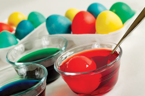 Easter Egg kits come with dye tablets, but you can use plain old food coloring