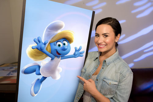 Demi Lovato with her character Smurfette