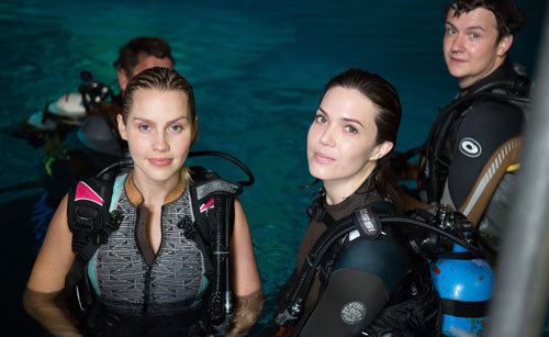 Claire and Mandy in the tank on set