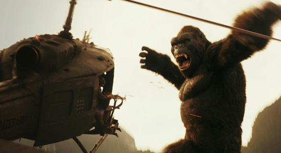 Kong vs. invading helicopters