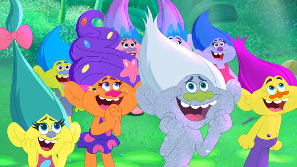 Poppy's friends ready for hugs, music and glitter