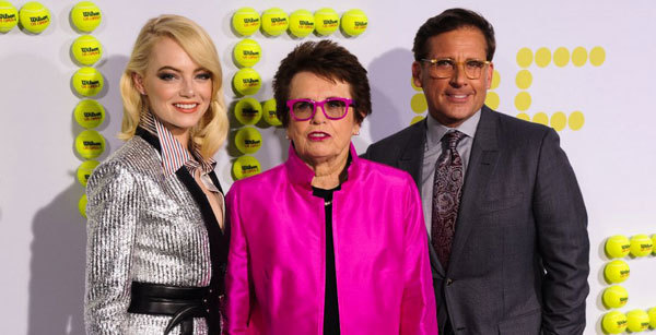 Emma Stone, Billie Jean King and Steve Carell