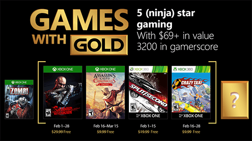 Xbox's Games with Gold for February 2018.