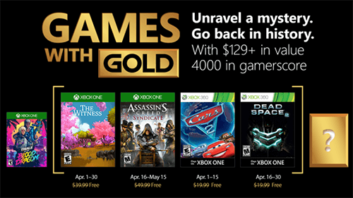 The Xbox Games with Gold lineup for April 2018.