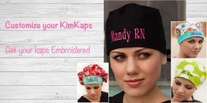 Kimkaps offers Custom Embroidery! Get your new scrub hat customized today!