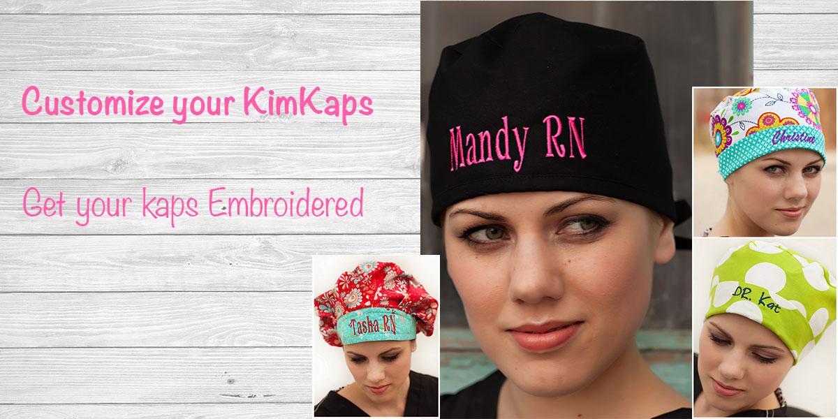 Kimkaps offers Custom Embroidery! Get your new scrub hat customized today! 261195dda69