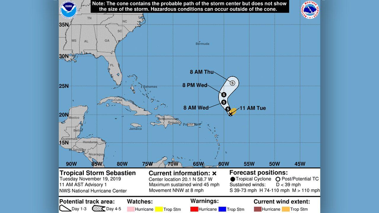 Tropical Storm Sebastien forms in