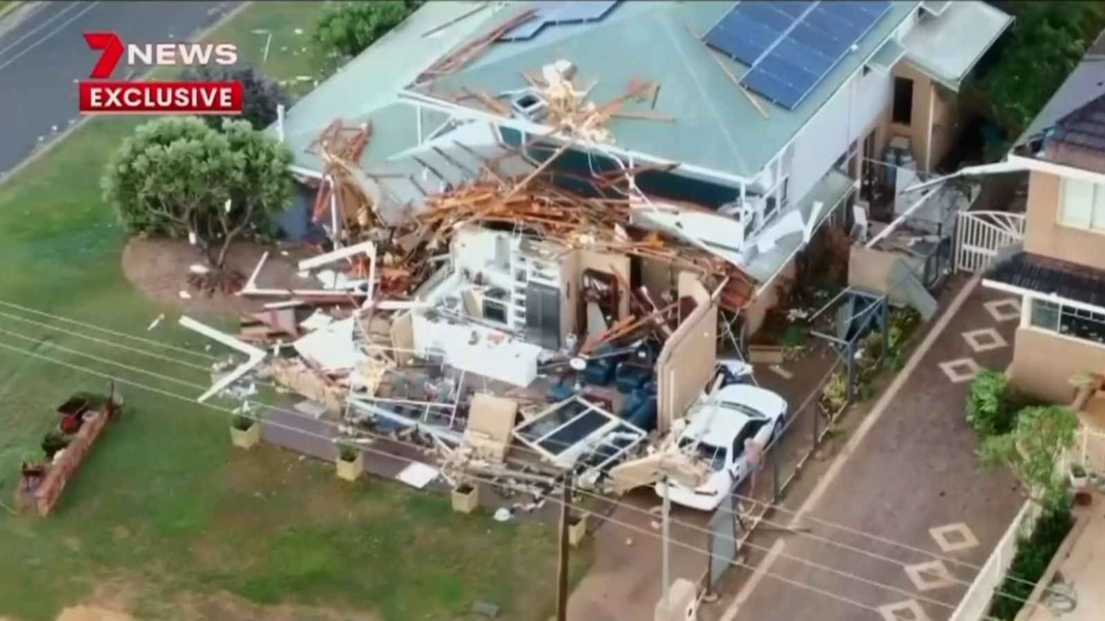 Cyclone tears off roofs and
