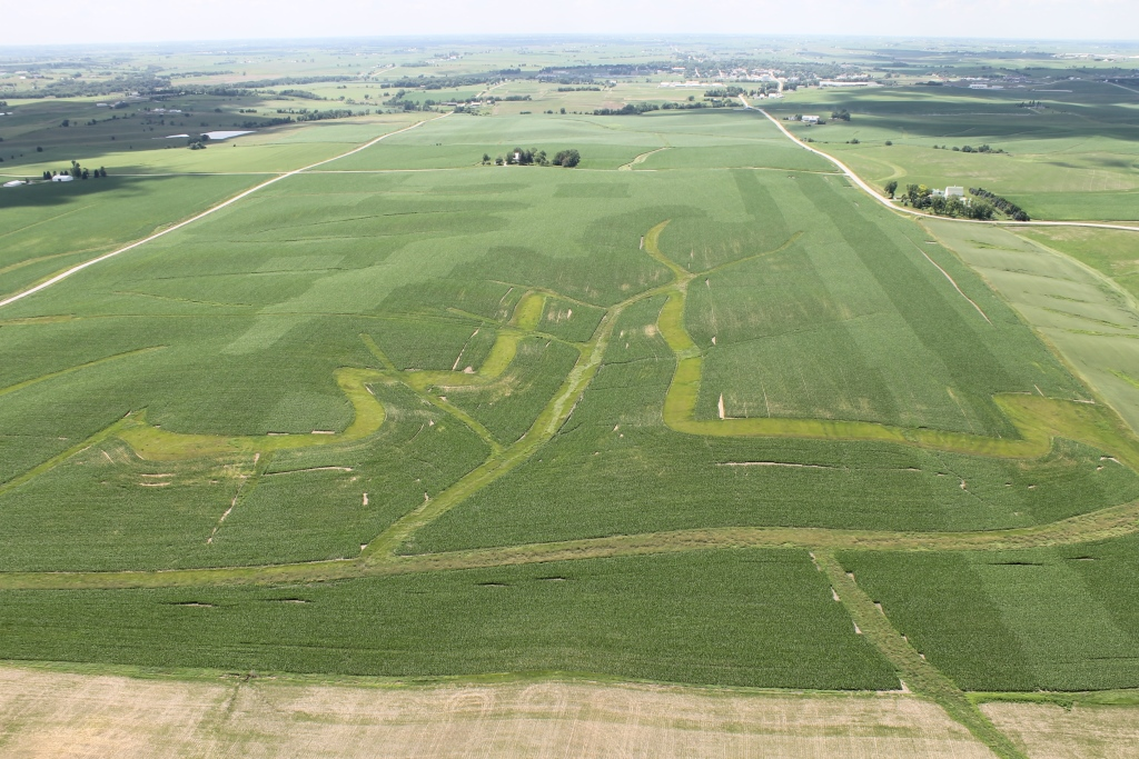 Aerial photo of a multi-hybrid field planted near Kinze's headquarters in Williamsburg, Iowa.