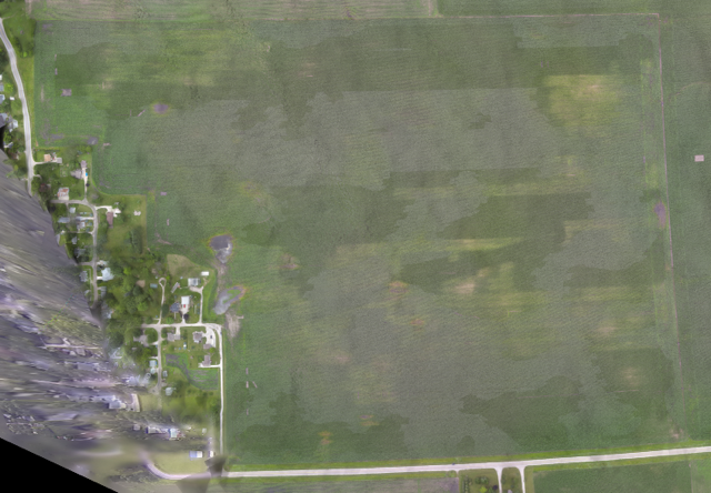 Aerial photo of a field planted using Kinze's multi-hybrid planter.