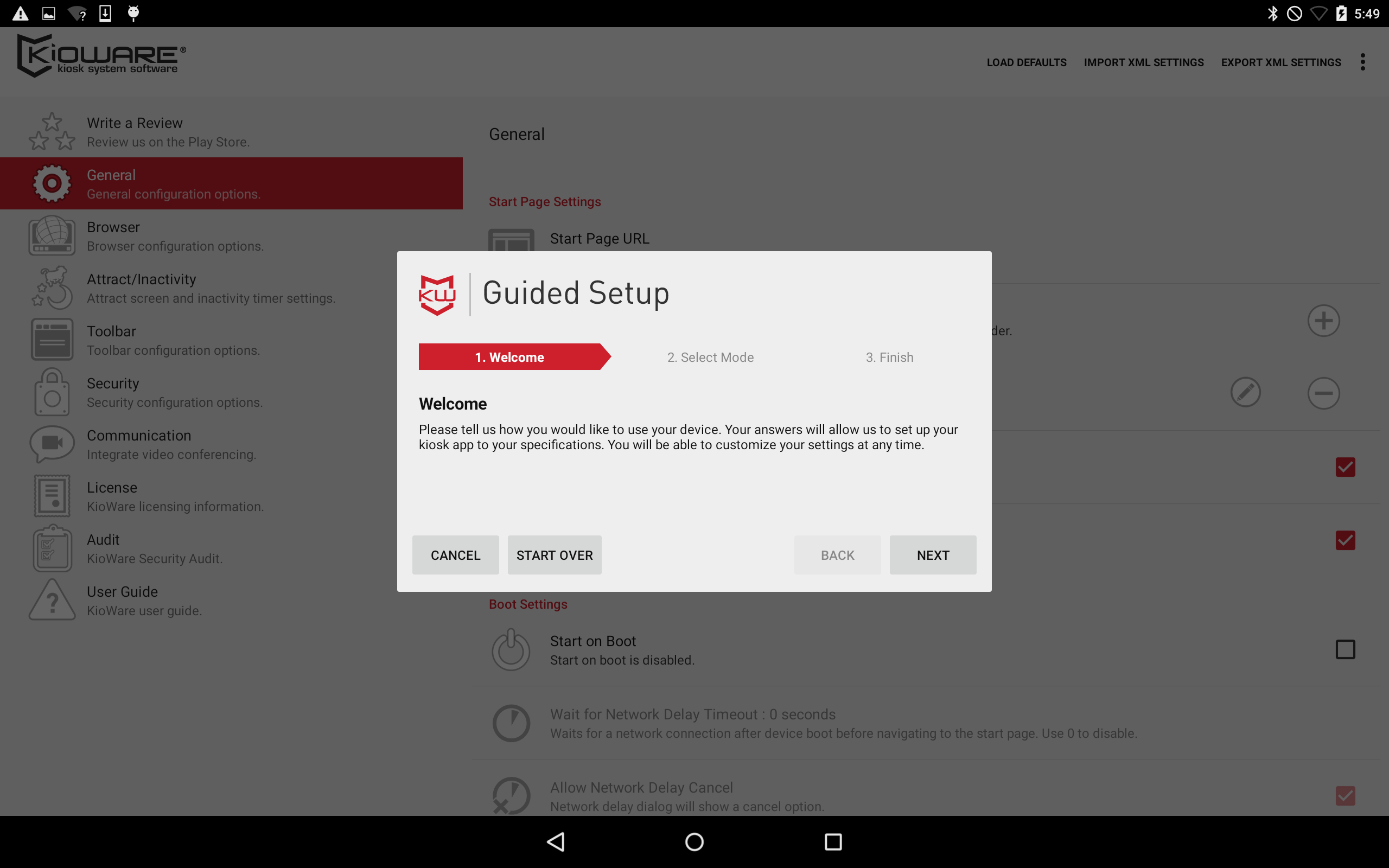 """We have a new version of KioWare for Android out (3.12) and it has a few great new features worth sharing. A new """"Guided Setup"""" tool which allows new or existing users to configure KioWare by answering a few quick questions. Support for automatic actions. Kioware can now enable automatic log ins, redirects, session ends, or automatically run scripts when a specific URL is used. Easier method for provisioning Support multiple start page URLs. KioWare can now wait for a WIFI connection before booting."""
