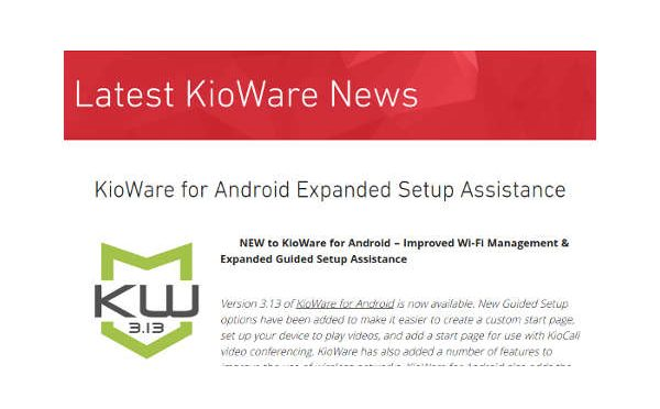 Kiosk Software – Wi-Fi Management & Expanded Guided Setup Assistance