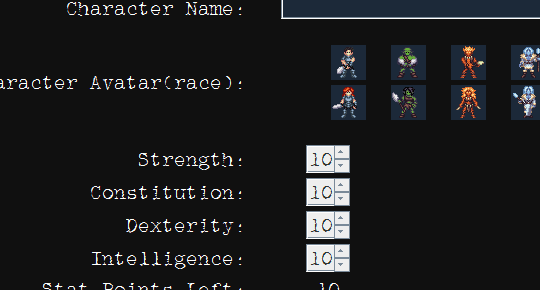 character creation race and stat builds