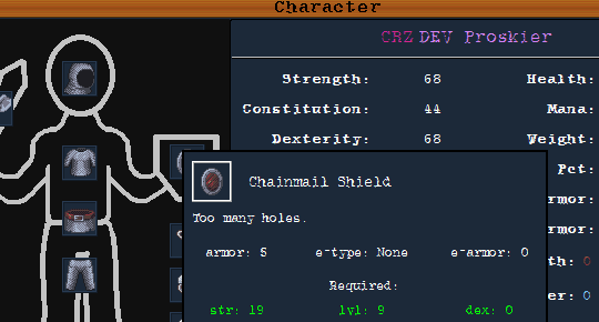 character equipment screen