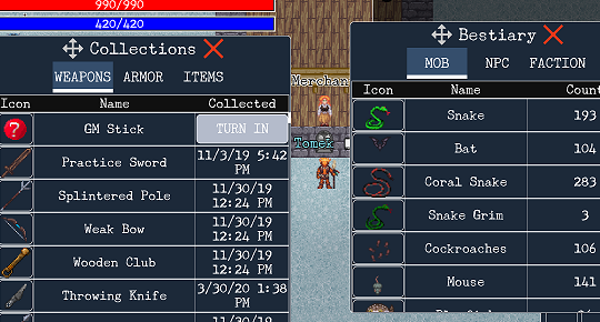 collect weapons, armors, items, monsters