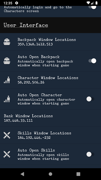 android ui options menu