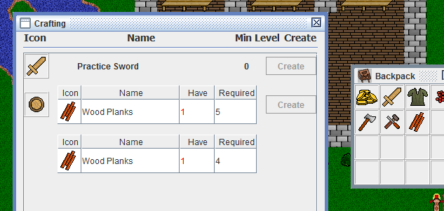 Crafting window GUI buggy work in progress