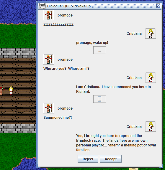 Dialogue window GUI work in progress